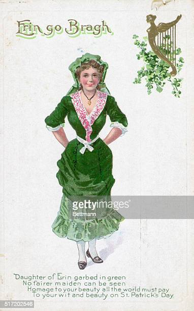 Erin go bragh stock photos and pictures getty images st patricks day greeting card showing an irish woman dressed in green and reading erin m4hsunfo