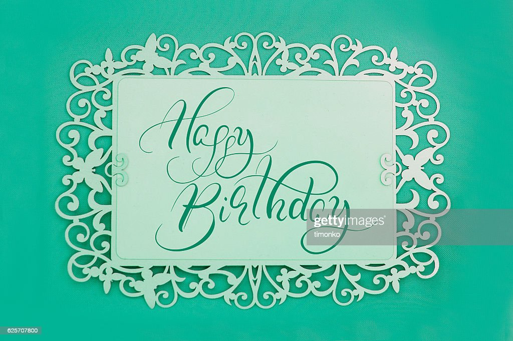 Greeting Card With Text Happy Birthday On Green Background Calligraphy Stock Foto