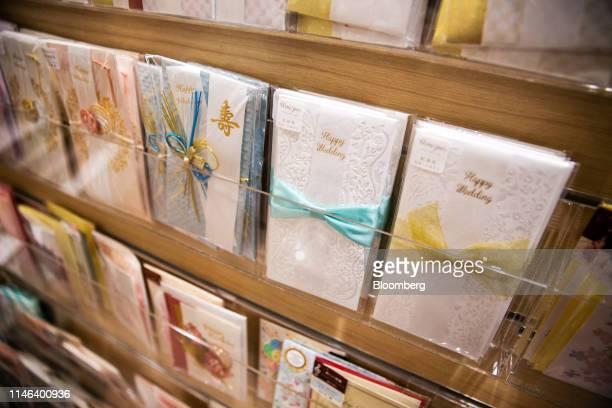 Greeting cards sit on display in the Kinokuniya Co book store at the Aeon Mall in Phnom Penh Cambodia Sunday May 26 2019 Kinokuniya Japan's largest...