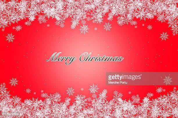 Greeting Christmas card with red background and snowflakes