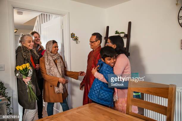 greeting family - hari raya stock pictures, royalty-free photos & images