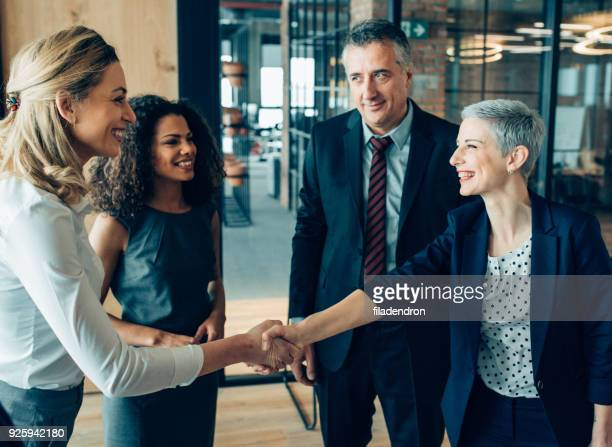 greeting for success - recruitment stock pictures, royalty-free photos & images