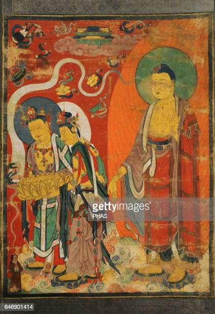 Greeting of the Righteous Man on the Way to the Pure Land of Buddha Amitabha Tangut State of the Western Xia KharaKhoto 13th century Scroll colour on...