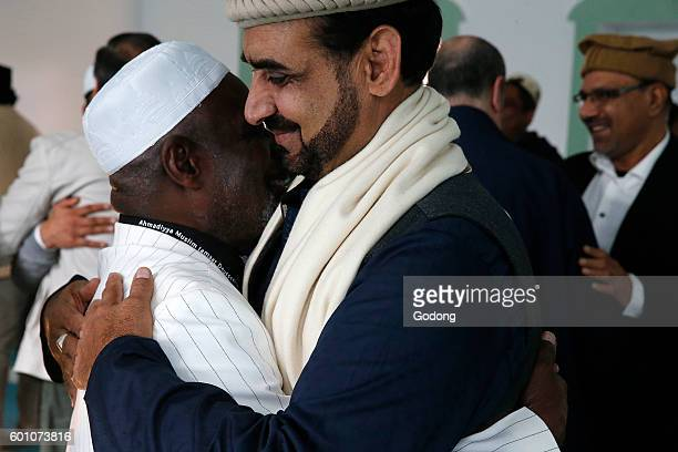 Greetings after the Eid prayer in an Ahmadiyya mosque SaintPrix France