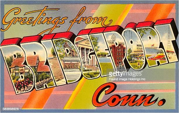 Greetings from Bridgeport Connecticut large letter vintage postcard