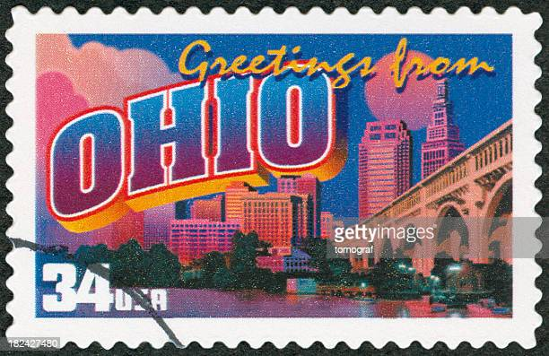 greetings from ohio postage stamp - ohio stock pictures, royalty-free photos & images