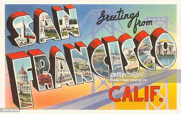 Greetings from San Francisco California large letter vintage postcard