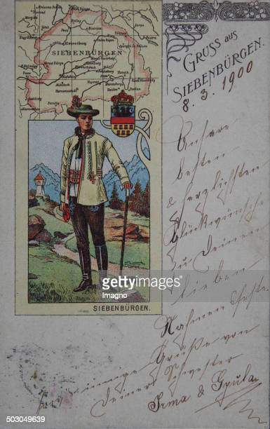 Greetings from Transylvania Coloured picture postcard with Transylvanian costume and map 1900 Color lithography