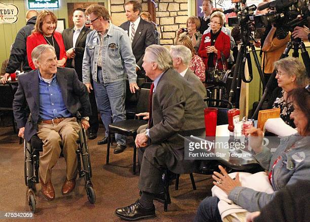 Greg Abbott candidate for governor of Texas spoke in Fort Worth Texas on Thursday Feb 27 2014 Abbott met with local voters at Jake's Hamburgers