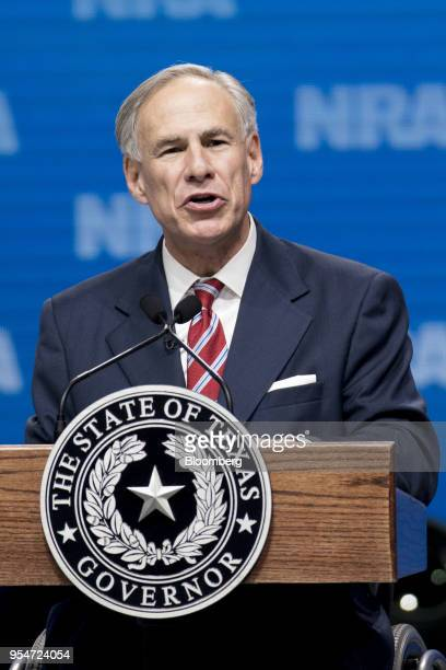 Greg Abbott governor of Texas speaks at the National Rifle Association Institute for Legislative Action Leadership Forum during the NRA annual...