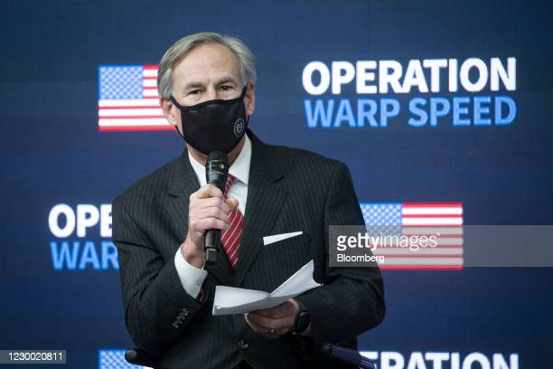 Greg Abbott, governor of Texas, speaks during an Operation Warp Speed vaccine summit at the White House in Washington, D.C., U.S., on Tuesday, Dec....