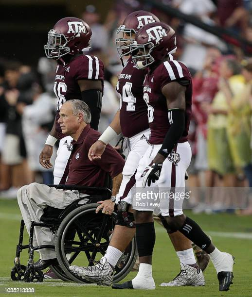 Greg Abbott'nGovernor of Texas during pregame ceremonies before a football game between Texas AM Aggies and Clemson Tigers at Kyle Field on September...