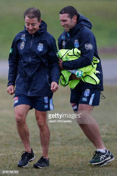Greg Alexander assistant coach of the Blues and Danny Buderus team advisor of the Blues during a New South Wales Blues State of Origin training...