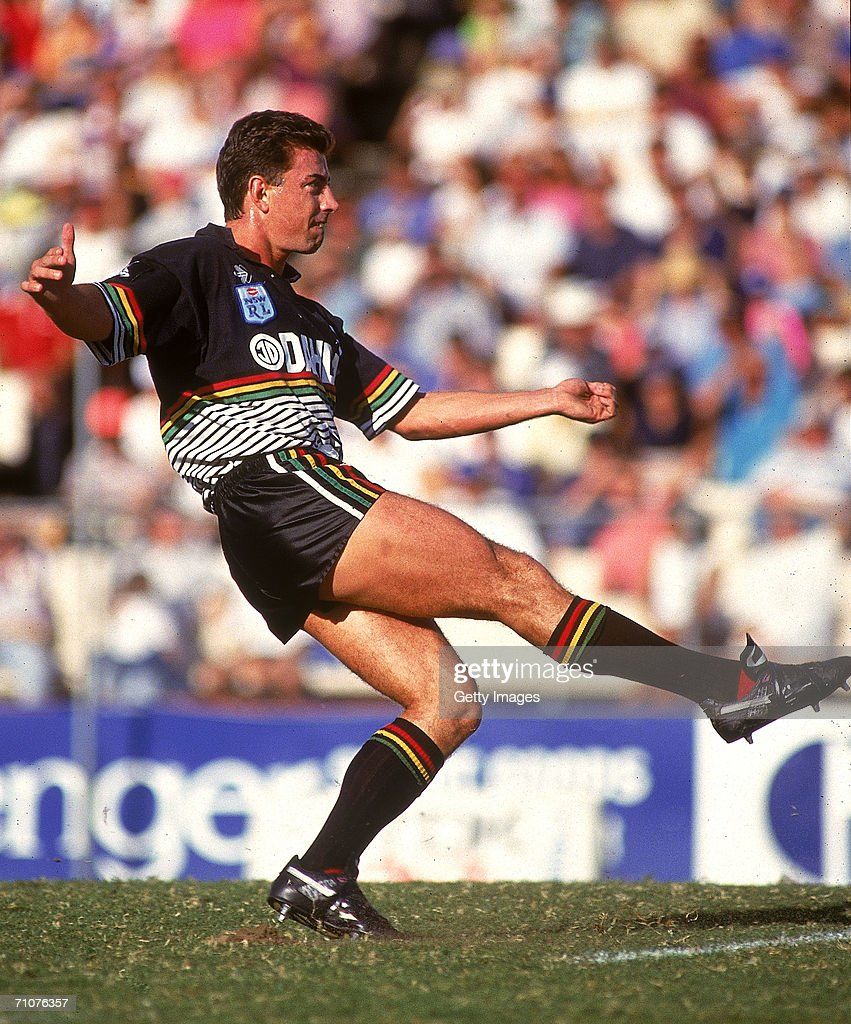 Greg Alexander of the Panthers kicks the ball during a NSWRL match between the Brisbane Broncos and the Penrith Panthers at Lang Park 1992, in Brisbane, Australia.