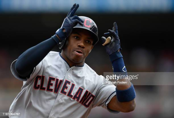 Greg Allen of the Cleveland Indians celebrates a solo home run against the Minnesota Twins during the first inning of the game on August 11 2019 at...