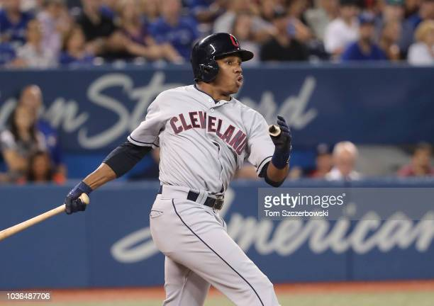 Greg Allen of the Cleveland Indians hits an RBI double in the sixth inning during MLB game action against the Toronto Blue Jays at Rogers Centre on...