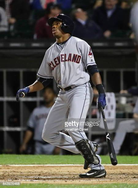 Greg Allen of the Cleveland Indians hits his first Major League home run a two run shot in the 7th inning against the Chicago White Sox at Guaranteed...