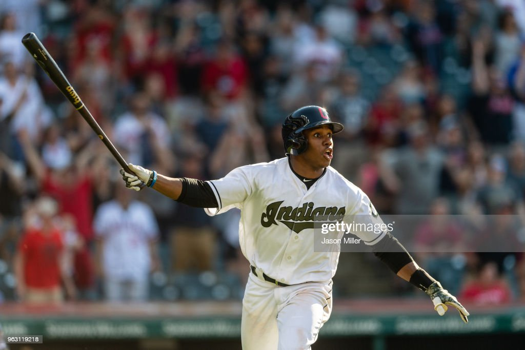 Greg Allen #1 of the Cleveland Indians reacts after hitting a walk-off solo home run to defeat the Houston Astros in the 14th inning at Progressive Field on May 27, 2018 in Cleveland, Ohio. The Indians defeated the Astros 10-9 in the 14th inning.