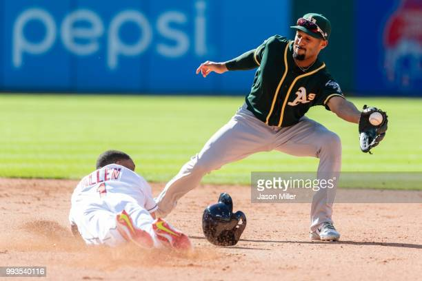 Greg Allen of the Cleveland Indians steals second as shortstop Marcus Semien of the Oakland Athletics tries to make the catch during the fifth inning...