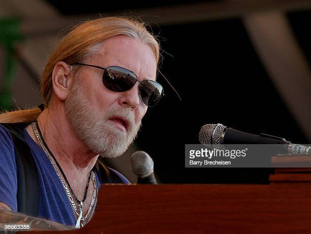 Greg Allman of The Allman Brothers Band performs during day 3 of the 41st annual New Orleans Jazz Heritage Festival at the Fair Grounds Race Course...