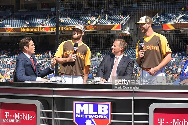 Greg Amsinger National League AllStar Bryce Harper of the Washington Nationals Al Leiter National League AllStar Kris Bryant of the Chicago Cubs and...