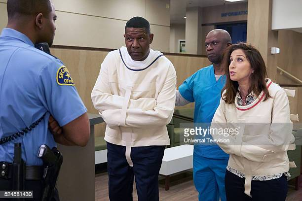 NINE Greg and Larry Episode 323 Pictured Dennis Haysbert as Bob Anderson Andre Braugher as Captain Ray Holt Chelsea Peretti as Gina Linetti