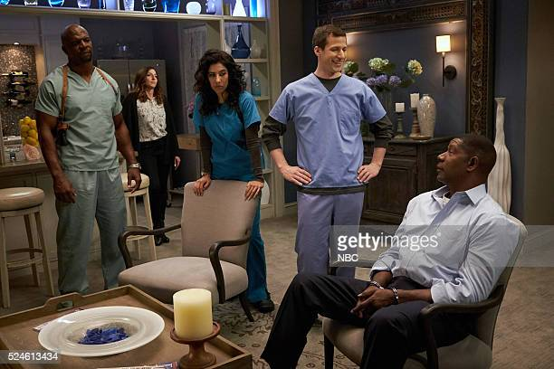 NINE Greg and Larry Episode 323 Pictured Terry Crews as Terry Jeffords Chelsea Peretti as Gina Linetti Stephanie Beatriz as Rosa Diaz Andy Samberg as...
