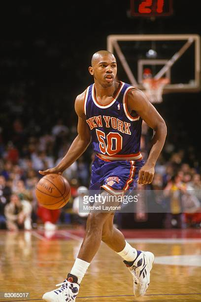 Greg Anthony of the New York Knicks dribbles the ball during a NBA basketball game against the Washington Bullets at the USAir Arena on April 14 1994...