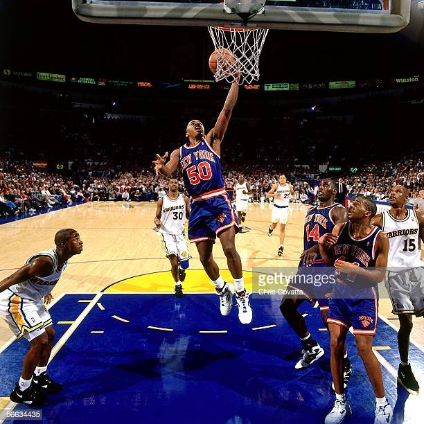 Greg Anthony of the New York Knicks lays up a shot against the Golden State Warriors on December 9 1993 at the Oakland Coliseum in Oakland California...