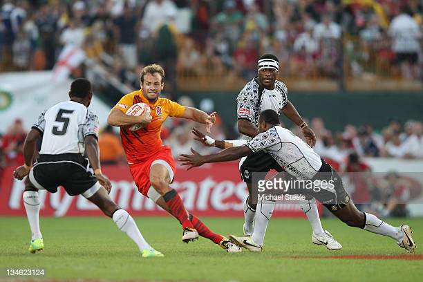 Greg Barden of England in action during the Cup Semi Final match between England and Fiji during Day Three of the IRB Dubai Sevens at the Sevens...