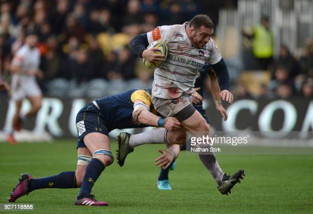 Greg Bateman of Leicester breaks through to scores their second try of the game during the Aviva Premiership match between Worcester Warriors and...