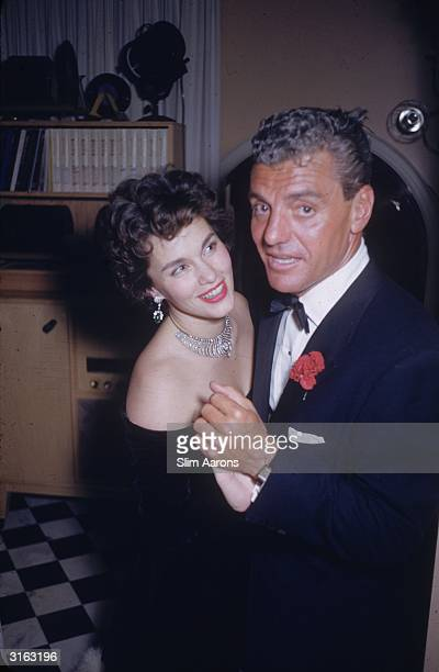 Greg Bautzer and film star Linda Christian at a party given by James Mason in Beverly Hills