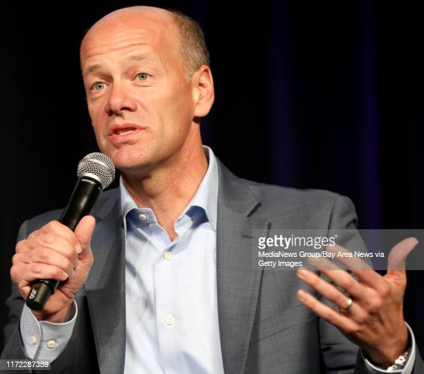 CEO Greg Becker of Silicon Valley Bank speaks during a panel discussion at the Silicon Valley Leadership Group annual luncheon at the Santa Clara...
