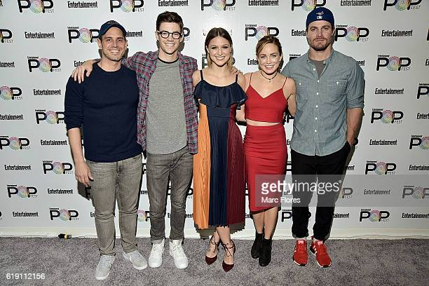 Greg Berlanti Grant Gustin Melissa Benoist Caity Lotz and Stephen Amell arrive at Entertainment Weekly's Popfest at The Reef on October 29 2016 in...