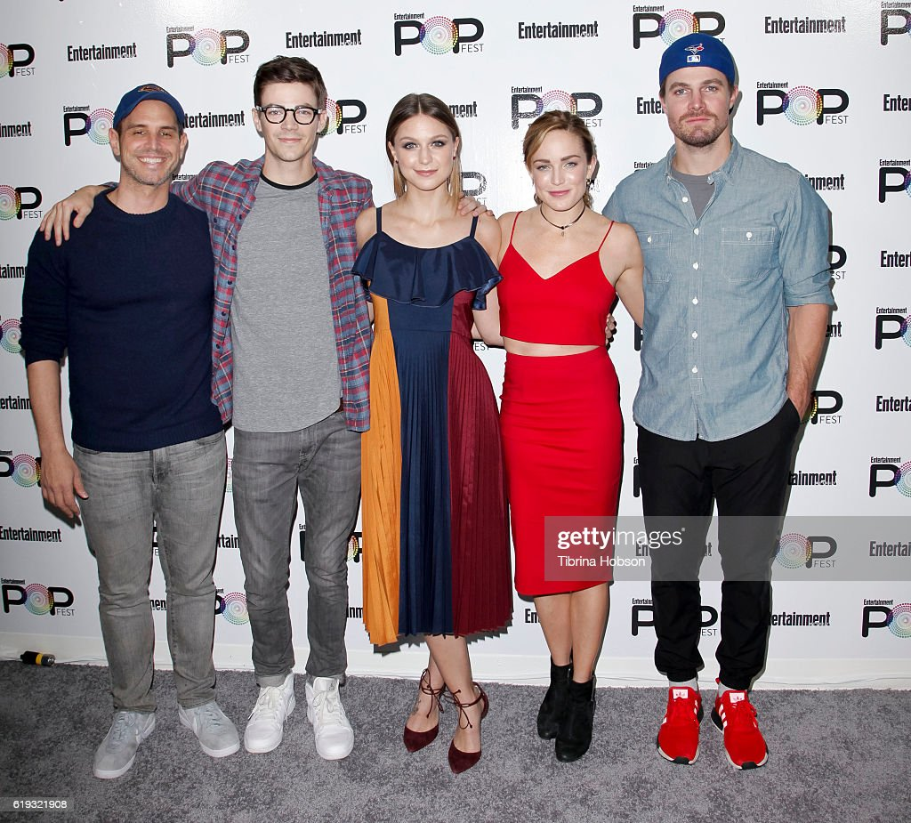 Greg Berlanti, Grant Gustin, Melissa Benoist, Caity Lotz and Stephen Amell attend Entertainment Weekly's Popfest at The Reef on October 29, 2016 in Los Angeles, California.