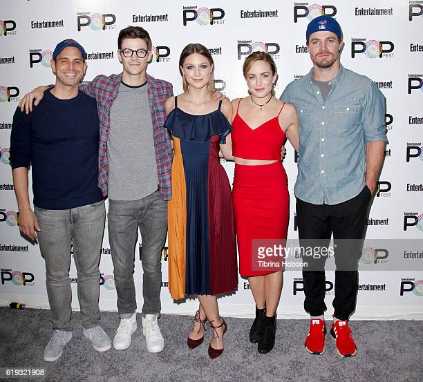 Greg Berlanti Grant Gustin Melissa Benoist Caity Lotz and Stephen Amell attend Entertainment Weekly's Popfest at The Reef on October 29 2016 in Los...