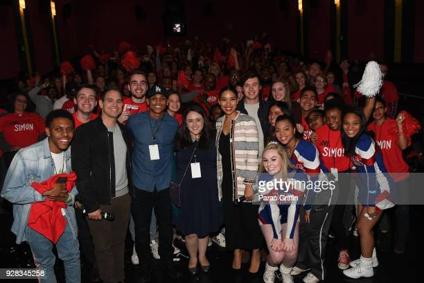 Greg Berlanti Terayle Hill Becky Albertalli Alexandra Shipp and Nick Robinson pose with movie audience members at Love Simon Atlanta Fan Screening...