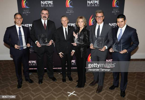Greg Berlanti Tom Selleck JP Bommel Jane Fonda Kevin Reilly and Cesar Conde are seen at the Brandon Tartikoff Legacy Awards at NATPE 2018 at the...