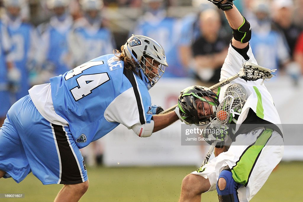 Greg Bice #44 of the Ohio Machine gets his stick up around the neck of Kevin Unterstein #86 of the New York Lizards in the first period on May 18, 2013 at Selby Stadium in Delaware, Ohio. Bice was assessed a penalty for the play.