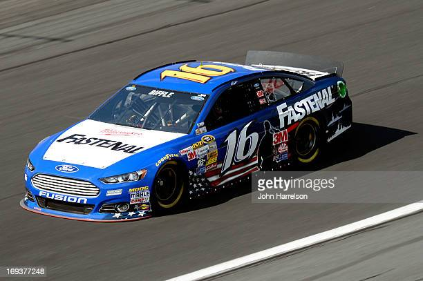 Greg Biffle drives the Fastenal Ford during practice for the NASCAR Sprint Cup Series CocaCola 600 at Charlotte Motor Speedway on May 23 2013 in...