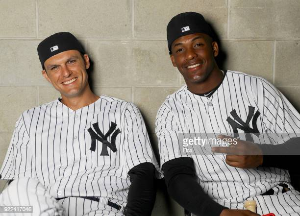 Greg Bird and Miguel Andujar of the New York Yankees of the New York Yankees poses for a portrait during the New York Yankees photo day on February...