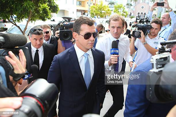 Greg Bird arrives at Southport Magistrates Court on March 9 2015 in Gold Coast Australia Gold Coast Titans NRL players have been served with a Notice...