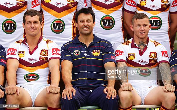 Greg Bird coach Laurie Daley and Todd Carney pose during the NSWRL Country Origin team photo session at Moore Park on April 16 2012 in Sydney...
