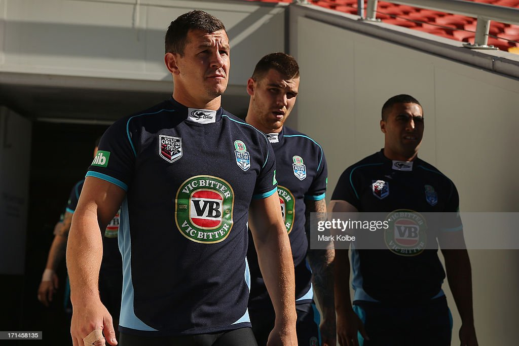 Greg Bird, Josh Dugan and Michael Jennings walk out of the tunnel during a New South Wales Blues State of Origin training session at Suncorp Stadium on June 25, 2013 in Brisbane, Australia.