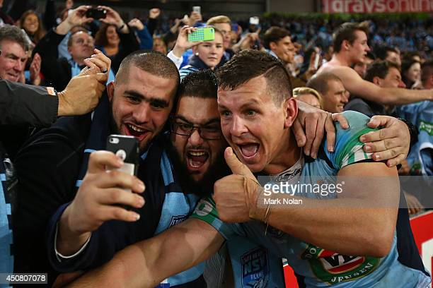 Greg Bird of the Blues celebrates winning the series after winning game two of the State of Origin series between the New South Wales Blues and the...
