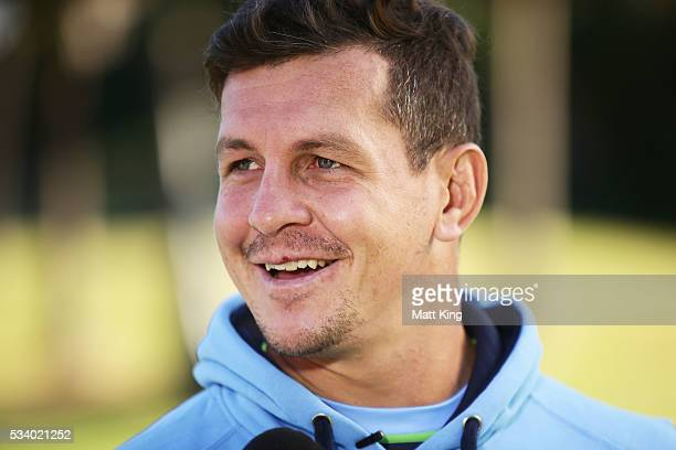 Greg Bird of the Blues speaks to the media during a New South Wales Blues State of Origin media session at the Novatel on May 25 2016 in Coffs...