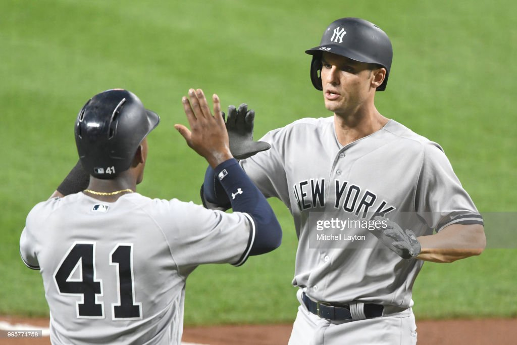 Greg Bird #33 of the New York Yankees celebrates a two run three run home run in the fifth inning with Miguel Andujar #41 during a baseball game against the Baltimore Orioles at Oriole Park at Camden Yards on July 10, 2018 in Baltimore, Maryland.