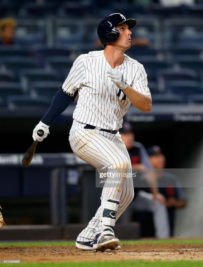 Greg Bird #33 of the New York Yankees follows through on his ninth inning three run home run against the Cleveland Indians in the second game of a doubleheader at Yankee Stadium on August 30, 2017 in the Bronx borough of New York City.