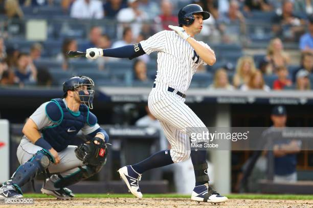 Greg Bird of the New York Yankees in action against the Seattle Mariners at Yankee Stadium on June 20 2018 in the Bronx borough of New York City New...