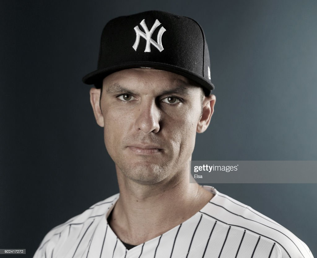 Greg Bird #33 of the New York Yankees oses for a portrait during the New York Yankees photo day on February 21, 2018 at George M. Steinbrenner Field in Tampa, Florida.